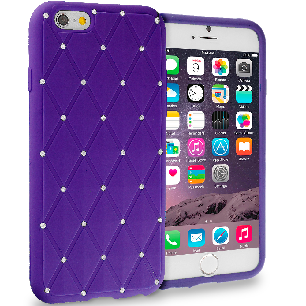 Apple iPhone 6 6S (4.7) Purple Diamond Bling Silicone Soft Rubber Skin Case Cover