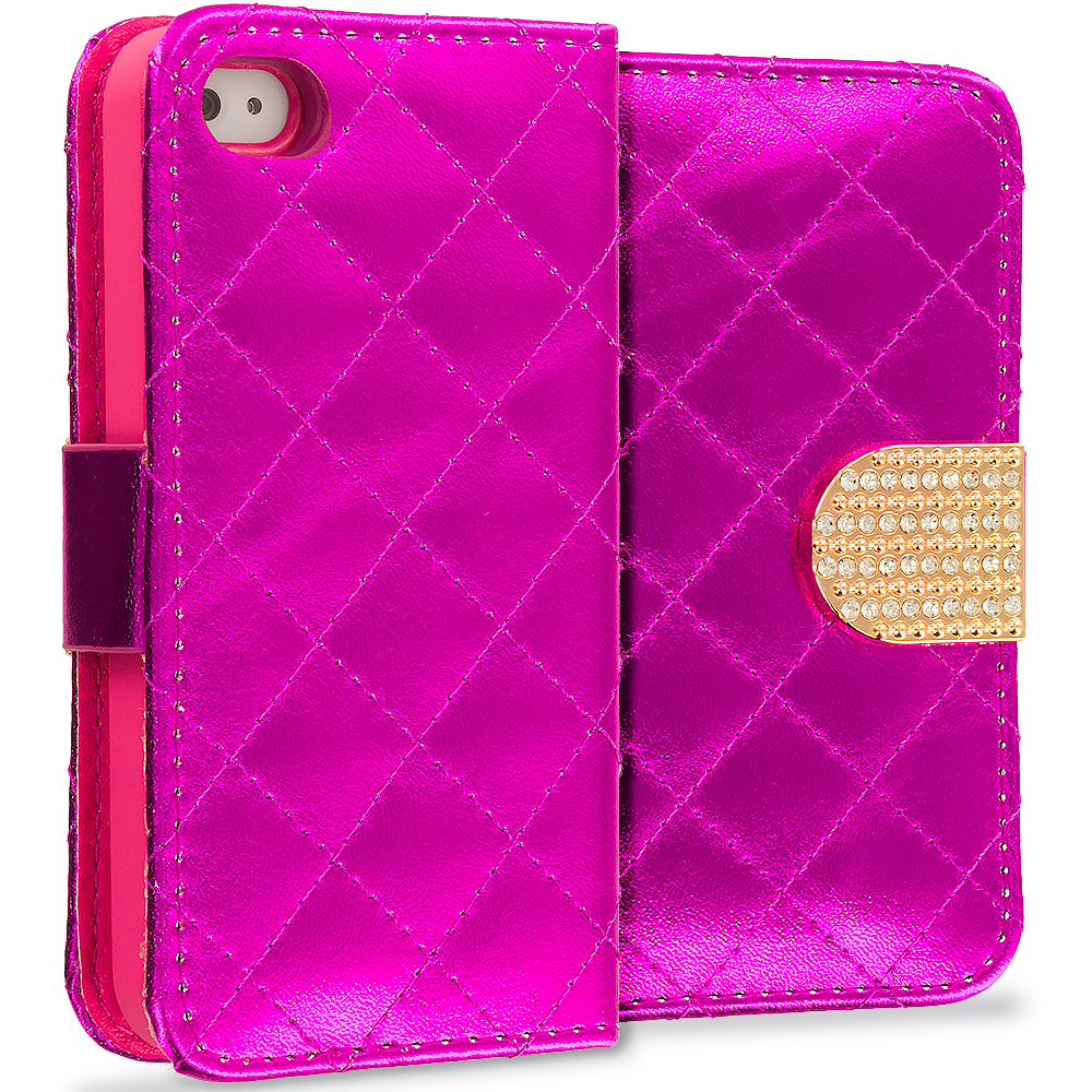 Apple iPhone 4 / 4S Hot Pink Luxury Wallet Diamond Design Case Cover With Slots