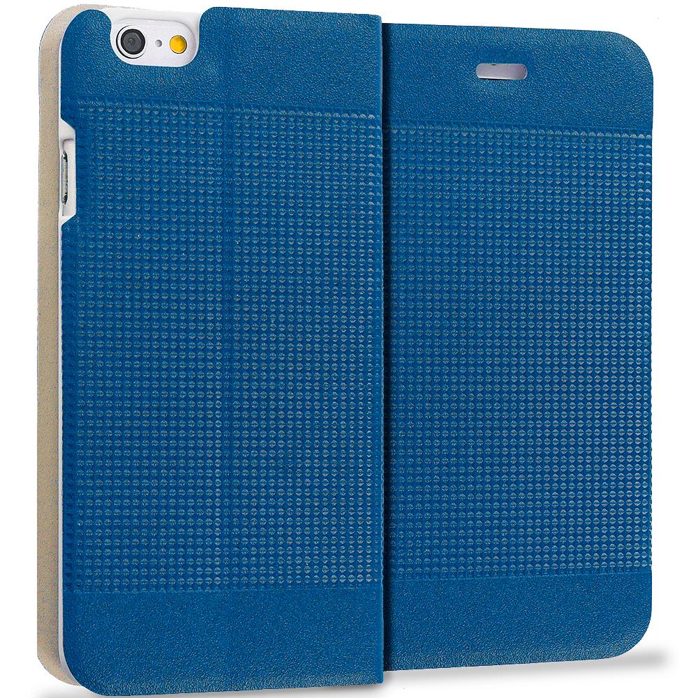 Apple iPhone 6 6S (4.7) Navy Blue Slim Wallet Flip Design Case Cover