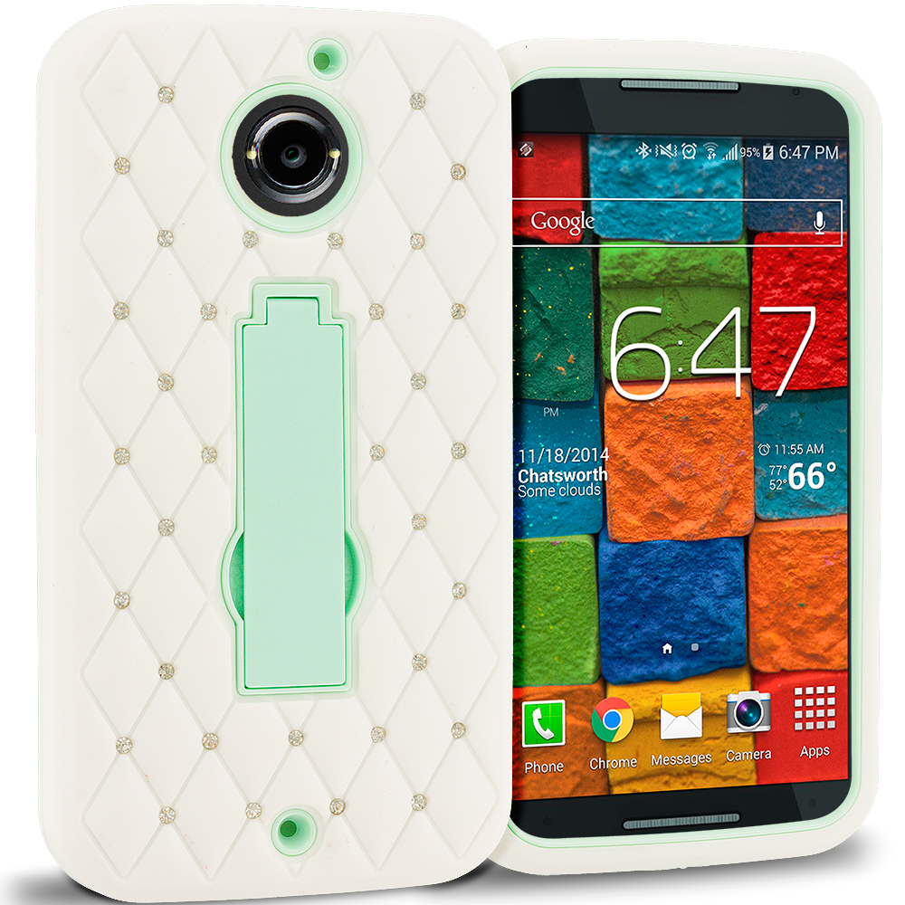 Motorola Moto X 2nd Gen White / Mint Green Hybrid Diamond Bling Hard Soft Case Cover with Kickstand