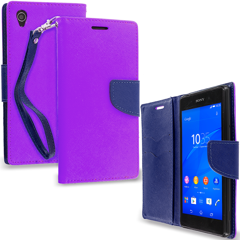 Sony Xperia Z3 Purple / Navy Blue Leather Flip Wallet Pouch TPU Case Cover with ID Card Slots