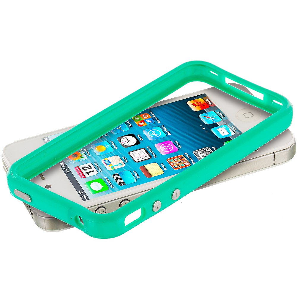 Apple iPhone 4 / 4S Teal TPU Bumper Frame Case Cover