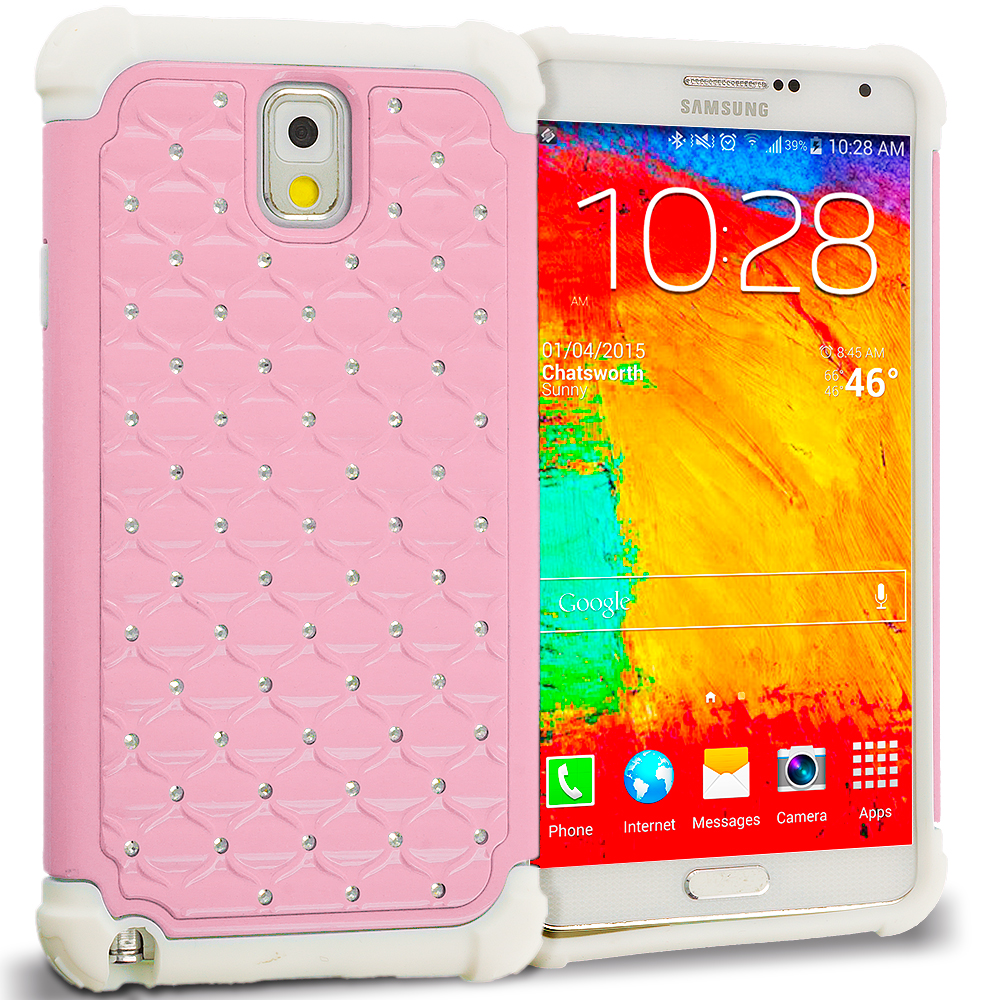 Samsung Galaxy Note 3 N9000 White / Pink Hard Rubberized Diamond Case Cover