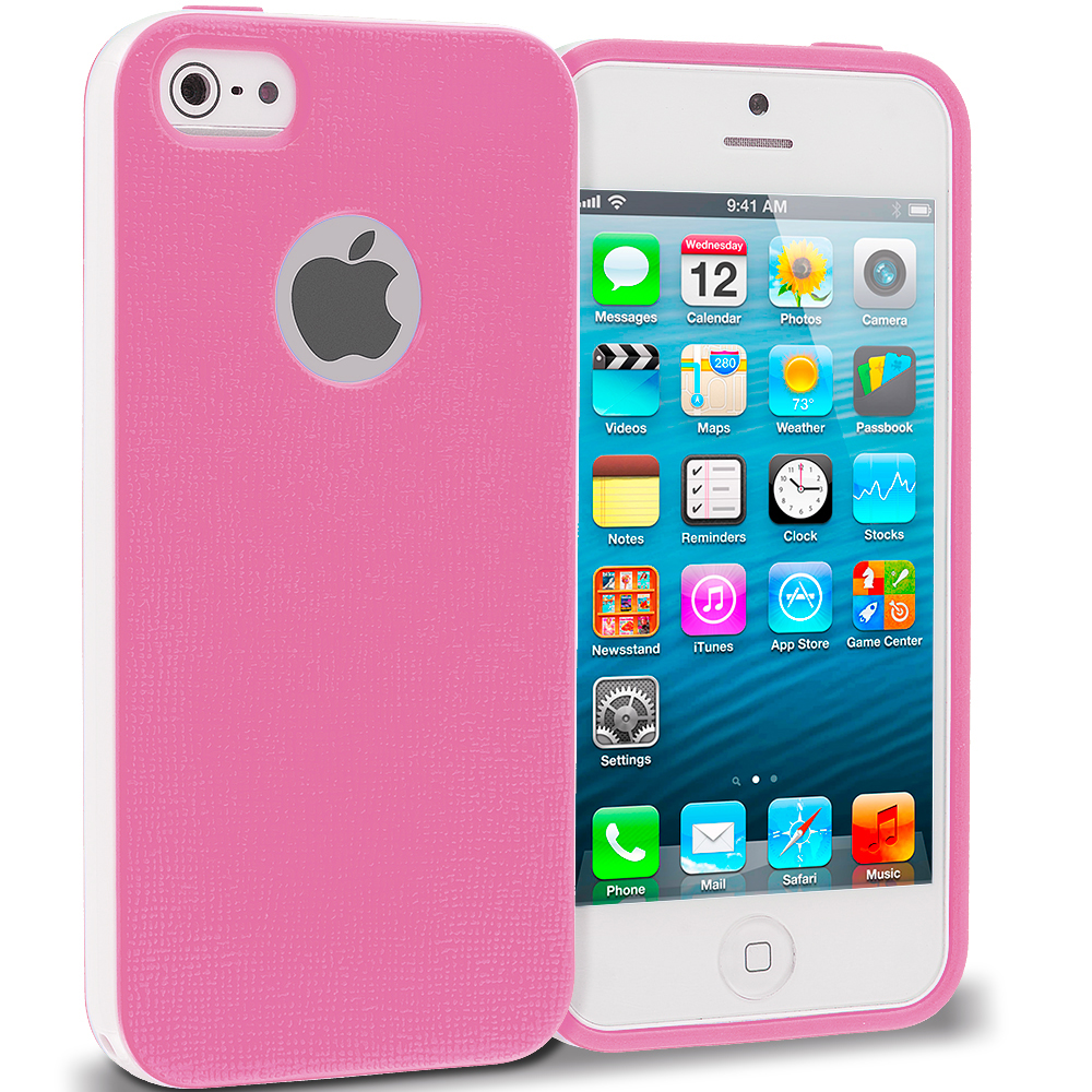 Apple iPhone 5/5S/SE Combo Pack : Pink Hybrid TPU Bumper Case Cover : Color Pink