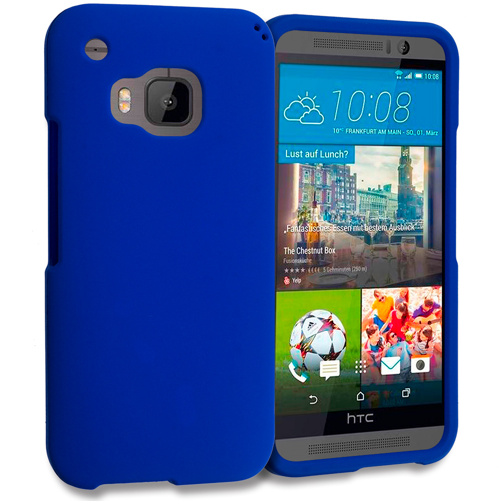 HTC One M9 Blue Hard Rubberized Case Cover