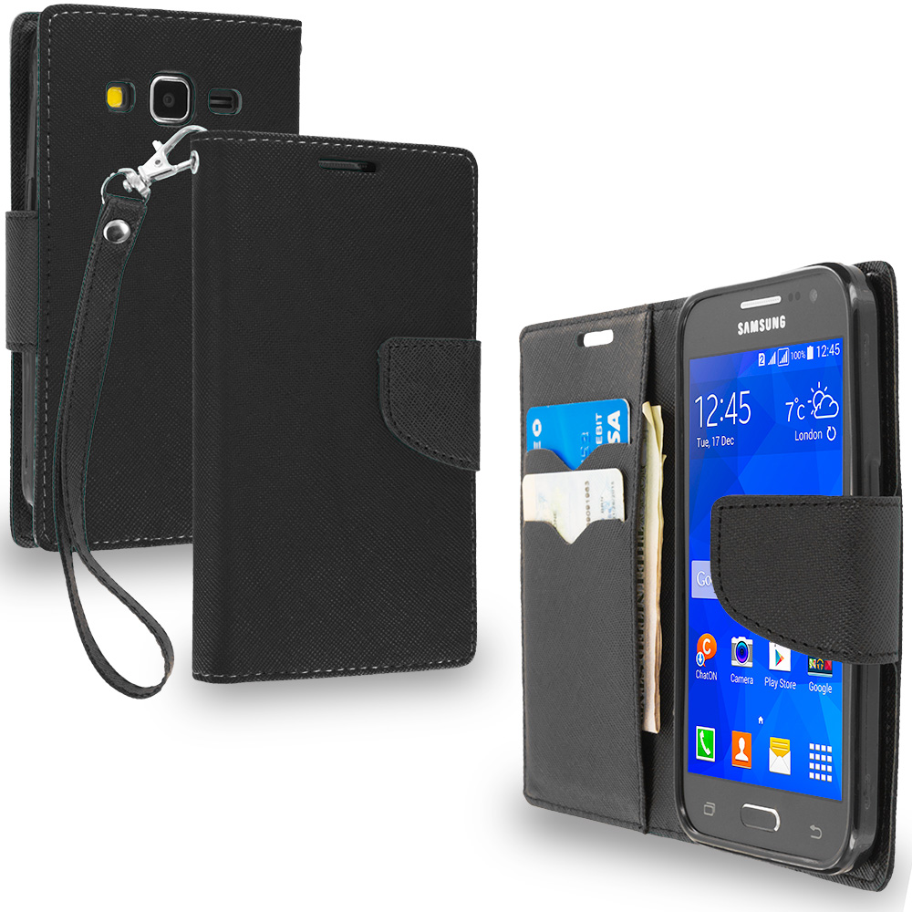 Samsung Galaxy Prevail LTE Core Prime G360P Combo Pack : Black / Black Leather Flip Wallet Pouch TPU Case Cover with ID Card Slots : Color Black / Black