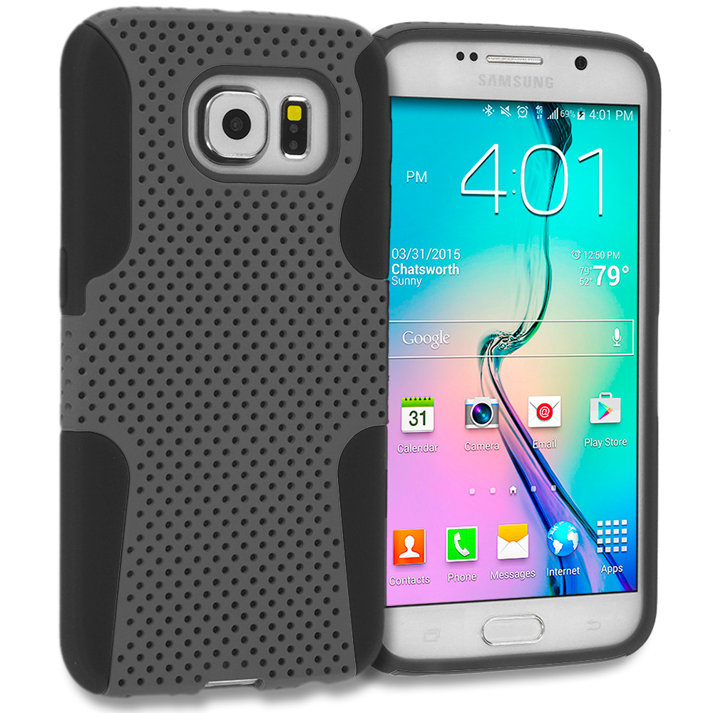 Samsung Galaxy S6 Combo Pack : Black / Black Hybrid Mesh Hard/Soft Case Cover : Color Black / Smoke