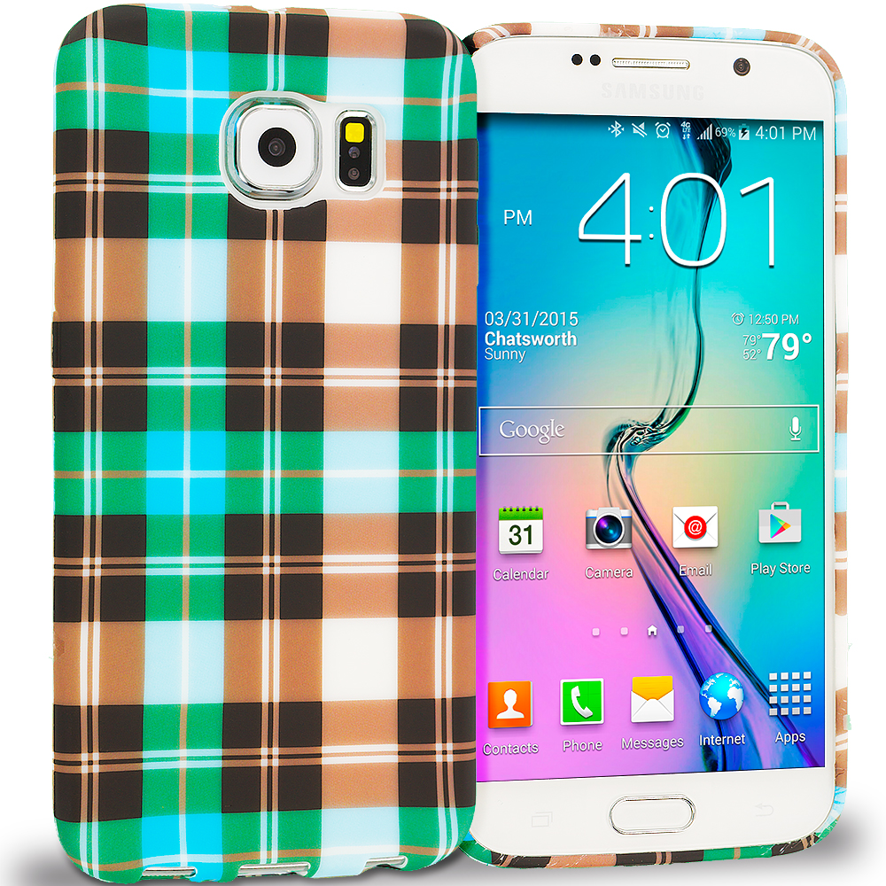 Samsung Galaxy S6 Blue Checkered TPU Design Soft Rubber Case Cover