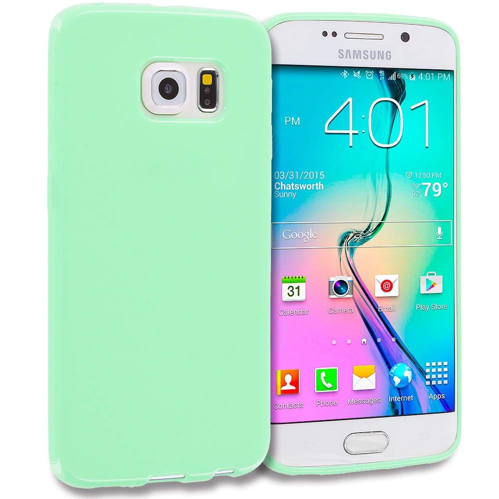 Samsung Galaxy S6 Edge Mint Green Solid TPU Rubber Skin Case Cover