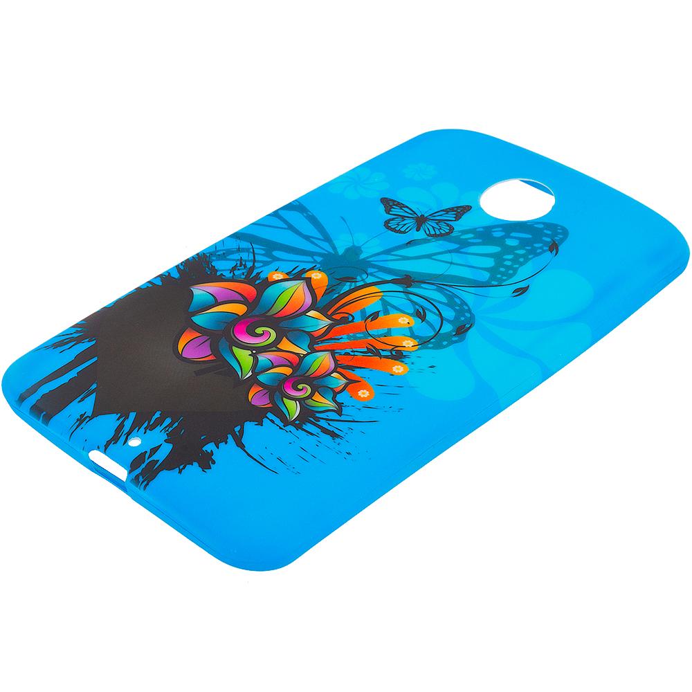 Motorola Google Nexus 6 Blue Butterfly Flower TPU Design Soft Rubber Case Cover