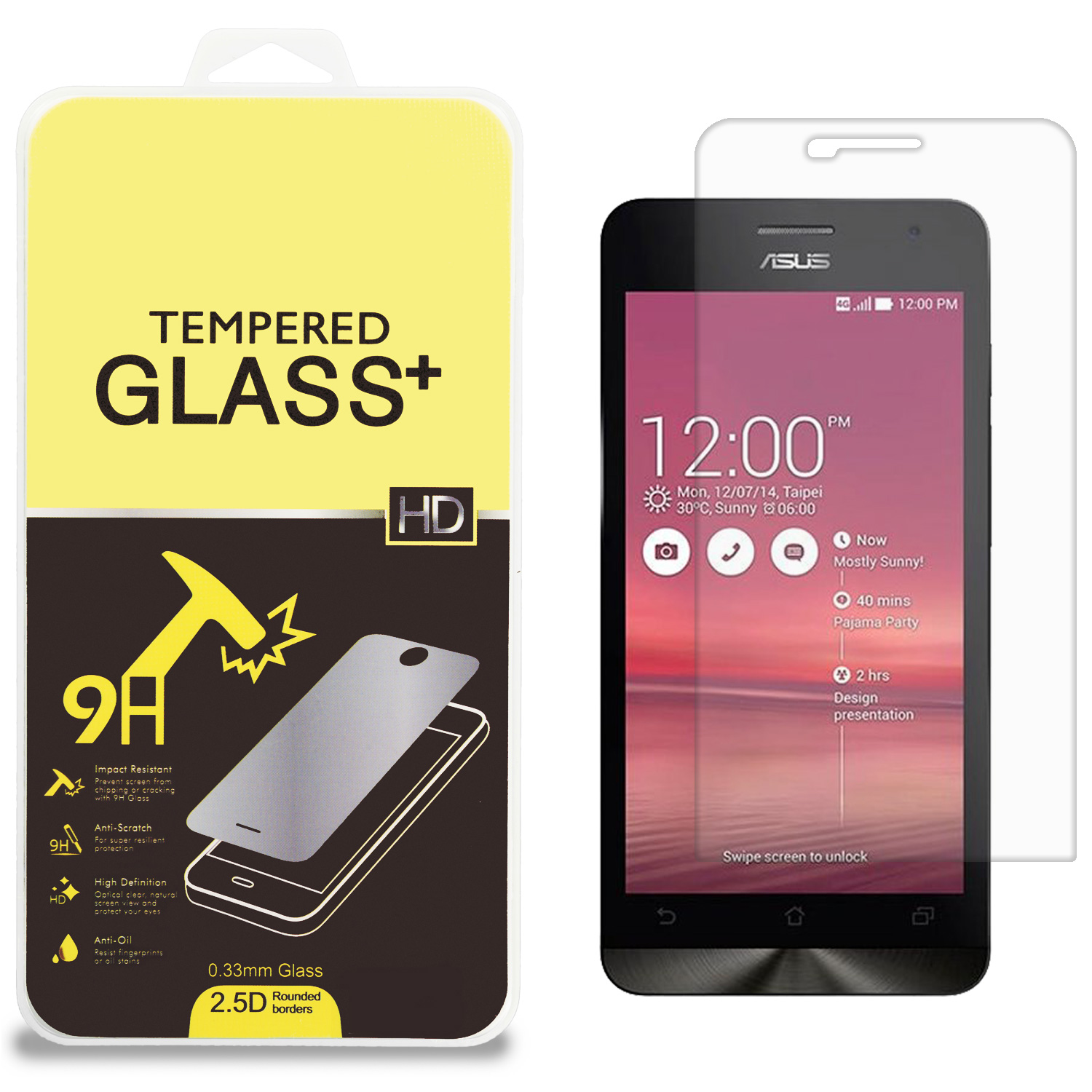 Asus Zenfone 5 Clear Tempered Glass High Quality 0.33mm LCD Screen Protector