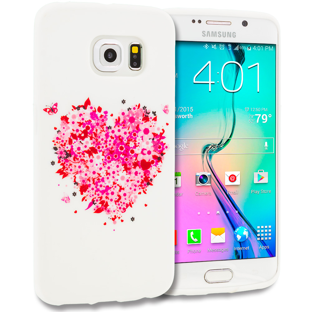 Samsung Galaxy S6 Edge Hearts Full of Flowers on White TPU Design Soft Rubber Case Cover