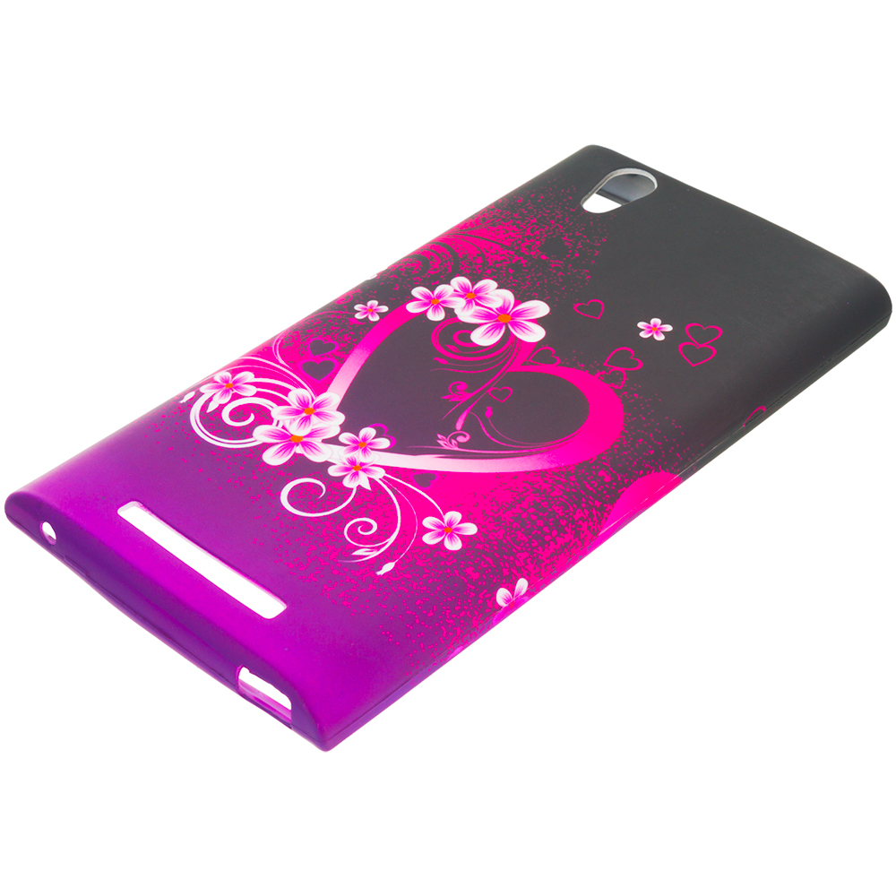 ZTE Zmax Purple Love TPU Design Soft Rubber Case Cover