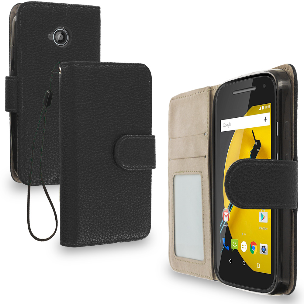 Motorola Moto E LTE 2nd Generation Black Leather Wallet Pouch Case Cover with Slots
