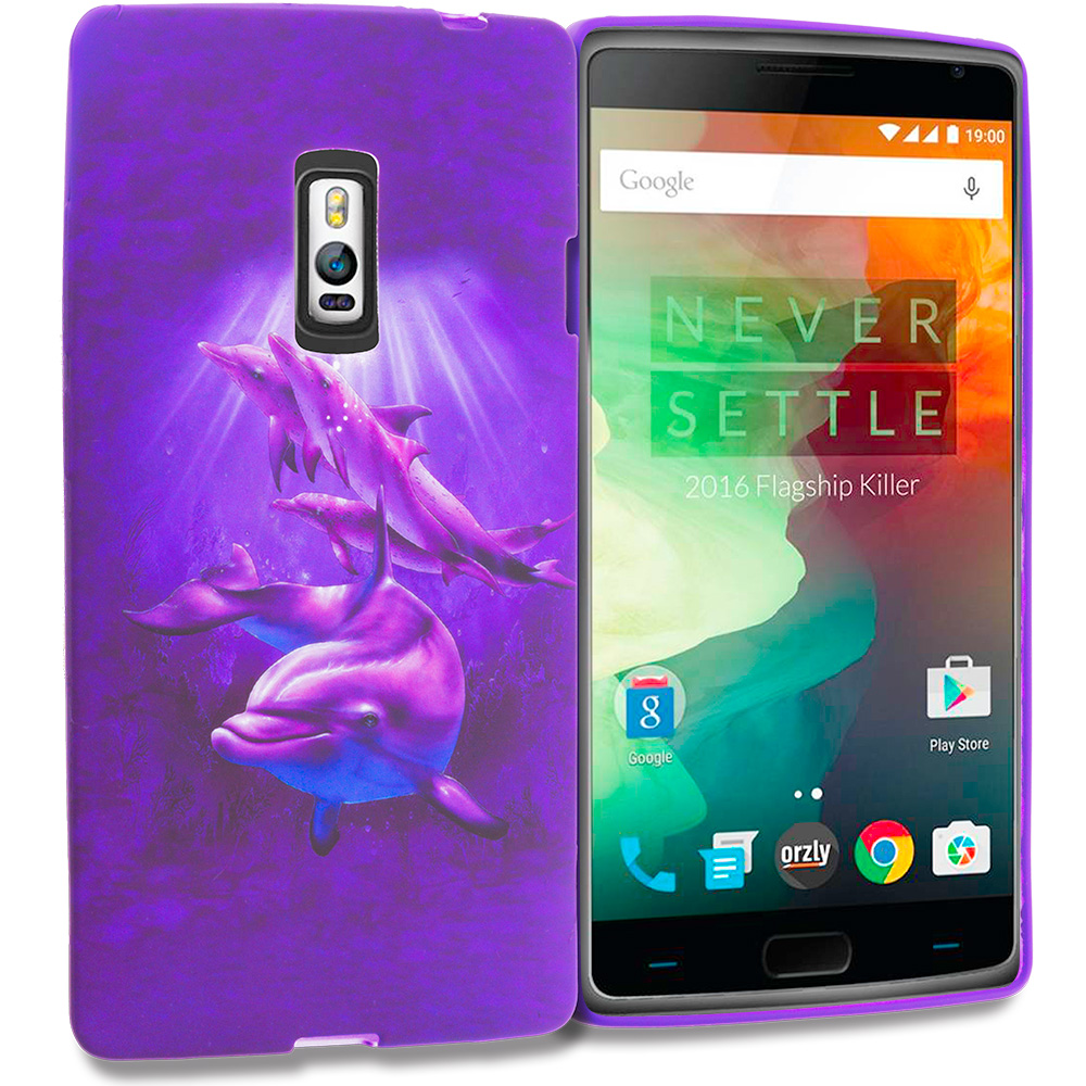 OnePlus 2 Two Purple Dolphin TPU Design Soft Rubber Case Cover
