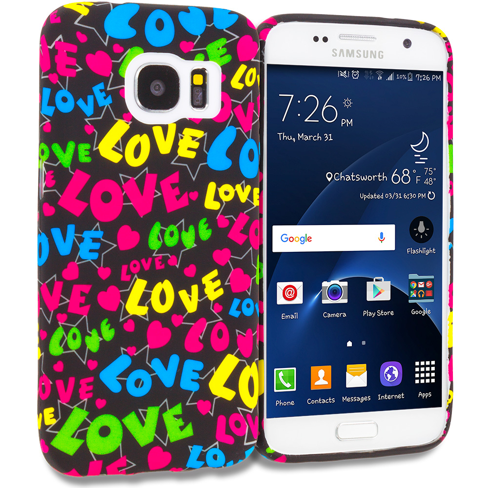 Samsung Galaxy S7 Combo Pack : Colorful Love on Black TPU Design Soft Rubber Case Cover : Color Colorful Love on Black
