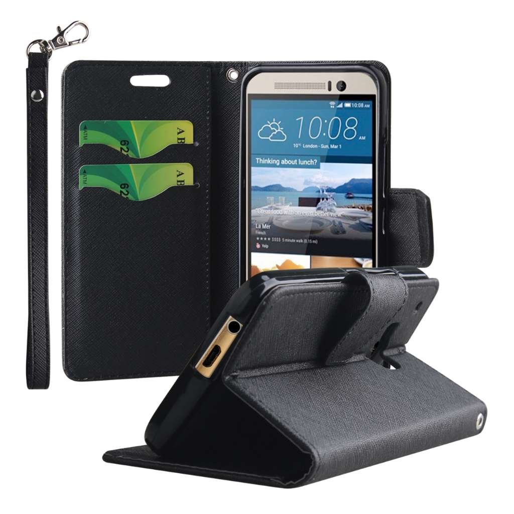 HTC One M9 - Black MPERO FLEX FLIP 2 Wallet Stand Case Cover