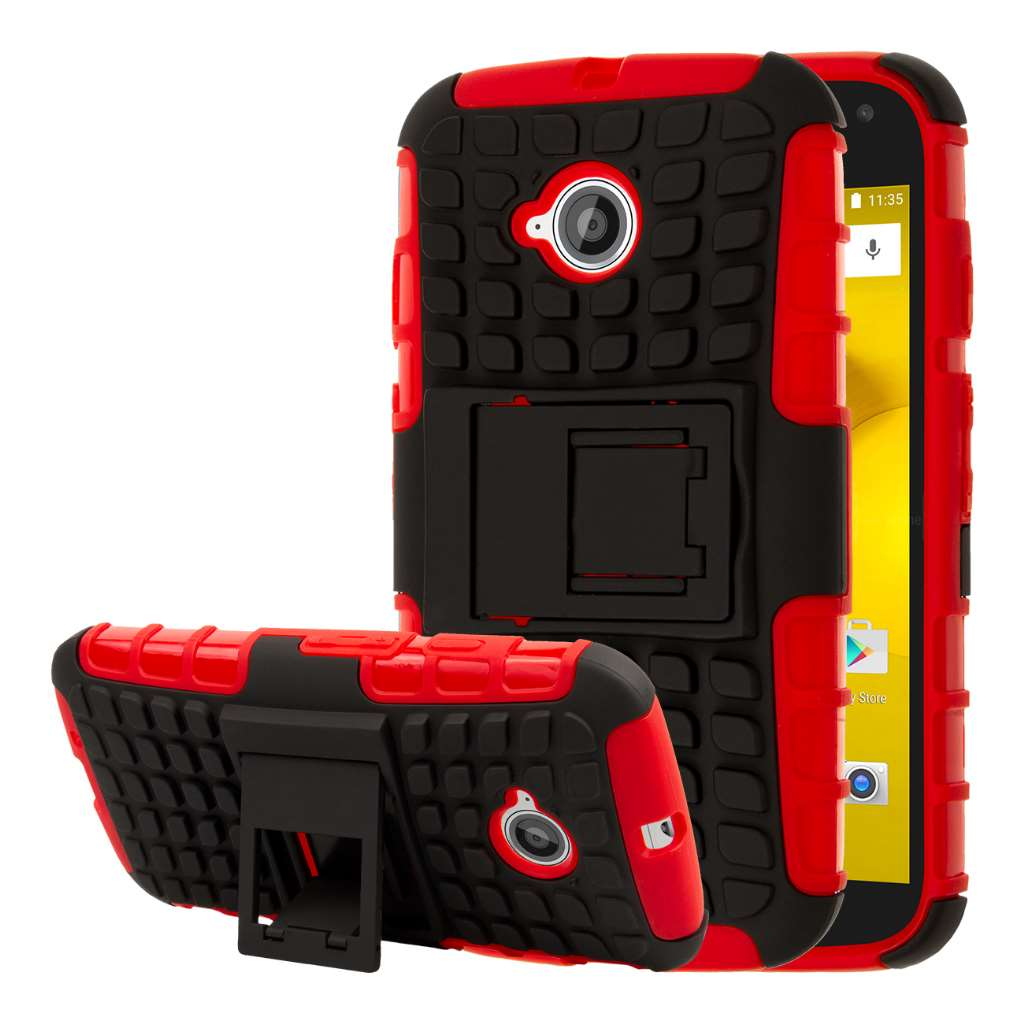 Motorola Moto E 2nd Generation - Red MPERO IMPACT SR - Kickstand Case Cover
