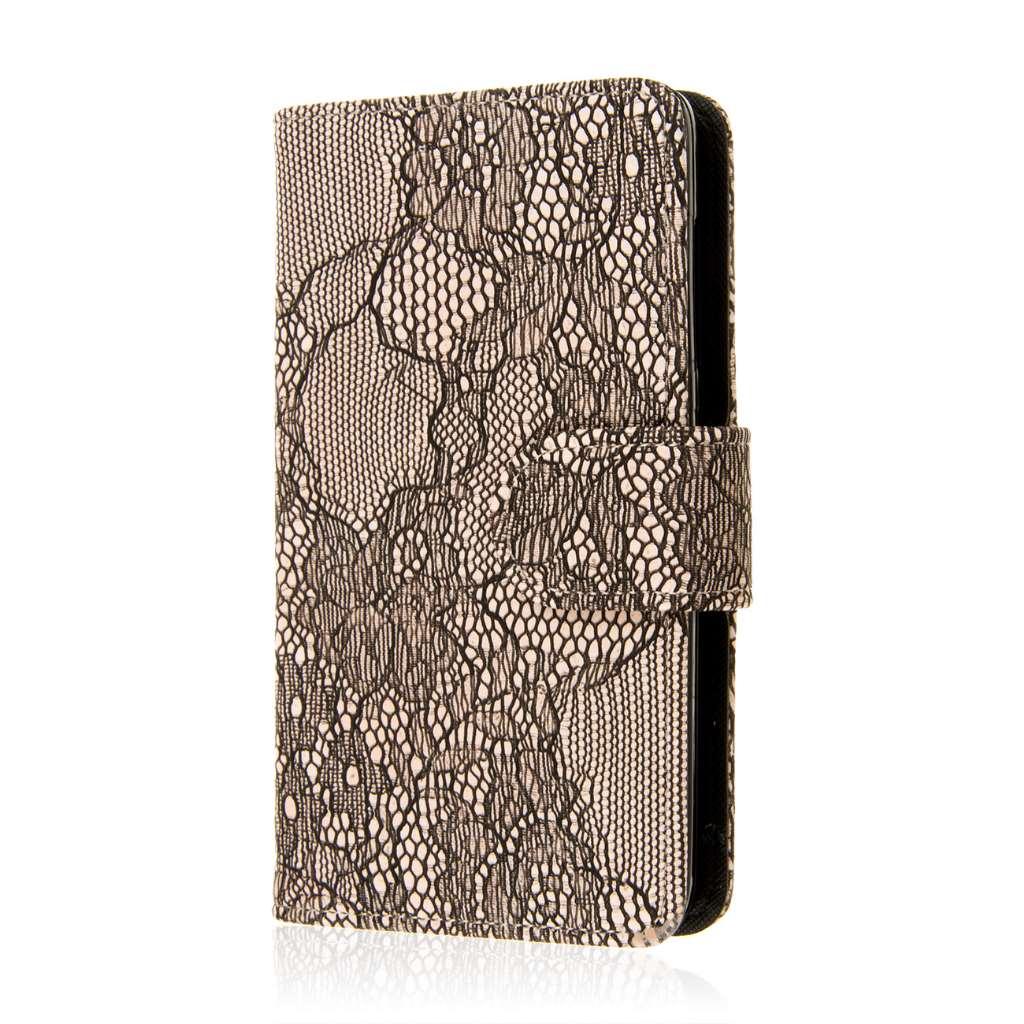 Microsoft Lumia 535 - Black Lace MPERO FLEX FLIP Wallet Case Cover