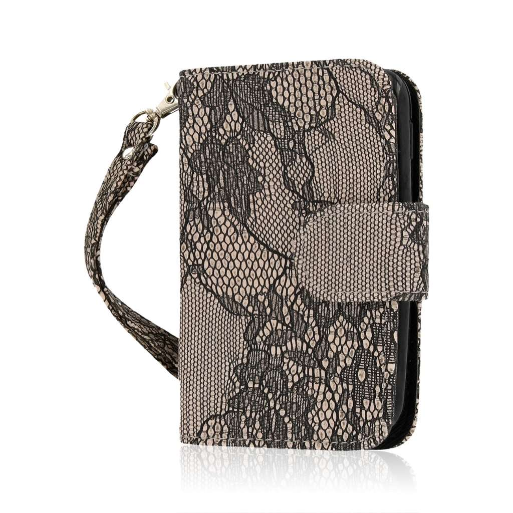 LG Optimus Dynamic 2 - Black Lace MPERO FLEX FLIP Wallet Case Cover
