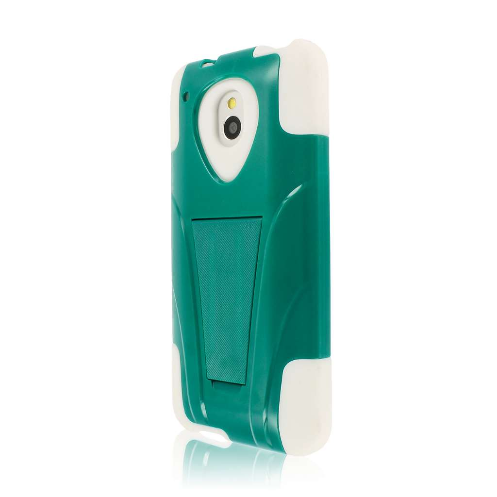 HTC One Mini- TEAL / WHITE MPERO IMPACT X - Kickstand Case Cover