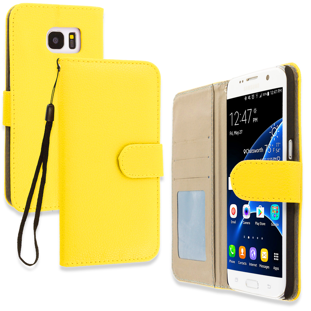 Samsung Galaxy S7 Edge Yellow Leather Wallet Pouch Case Cover with Slots