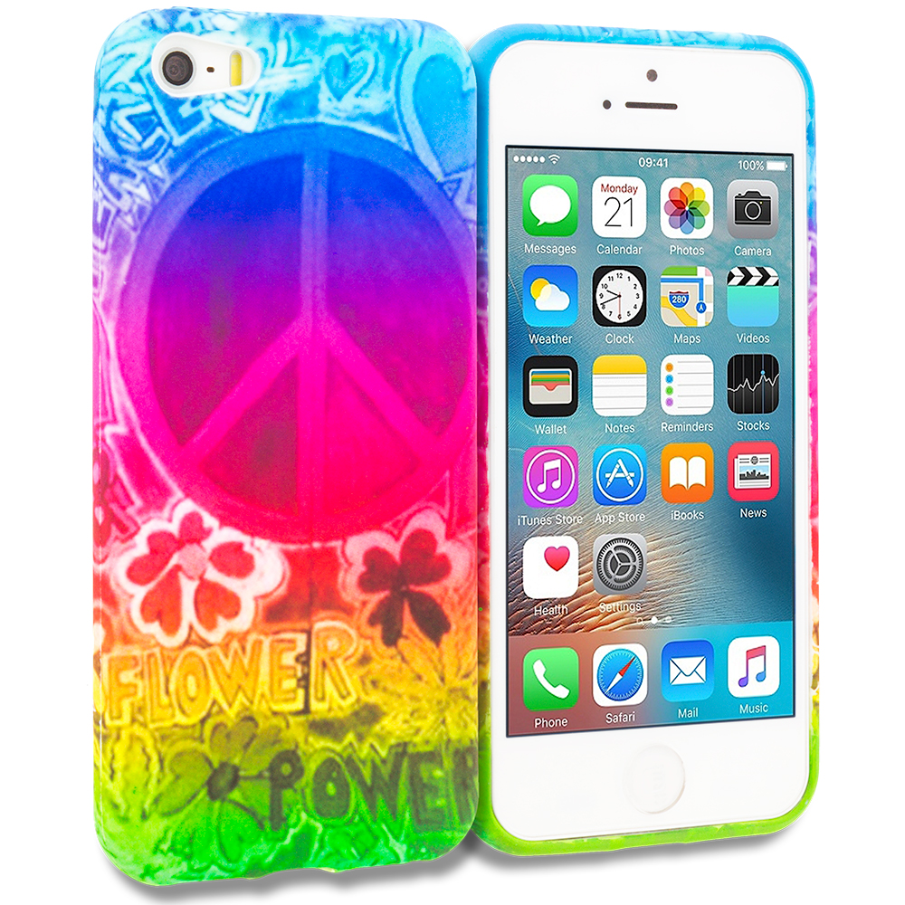 Apple iPhone 5/5S/SE Combo Pack : Flower Power TPU Design Soft Rubber Case Cover : Color Flower Power