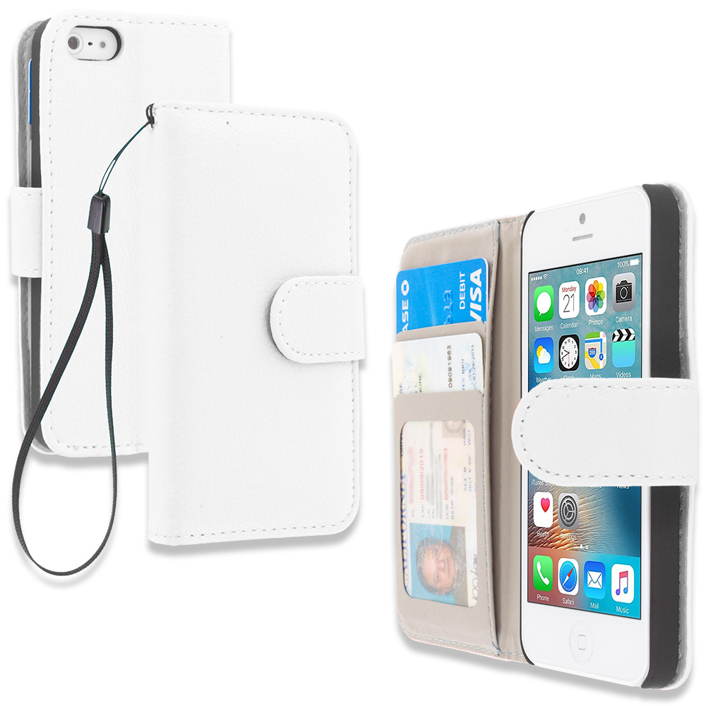 Apple iPhone 5/5S/SE White Leather Wallet Pouch Case Cover with Slots