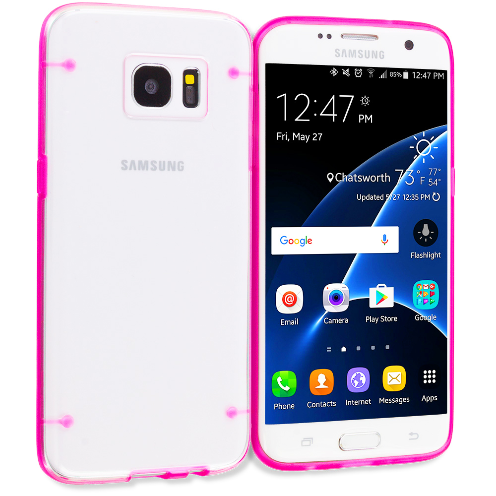 Samsung Galaxy S7 Edge Hot Pink Crystal Robot Hard TPU Case Cover