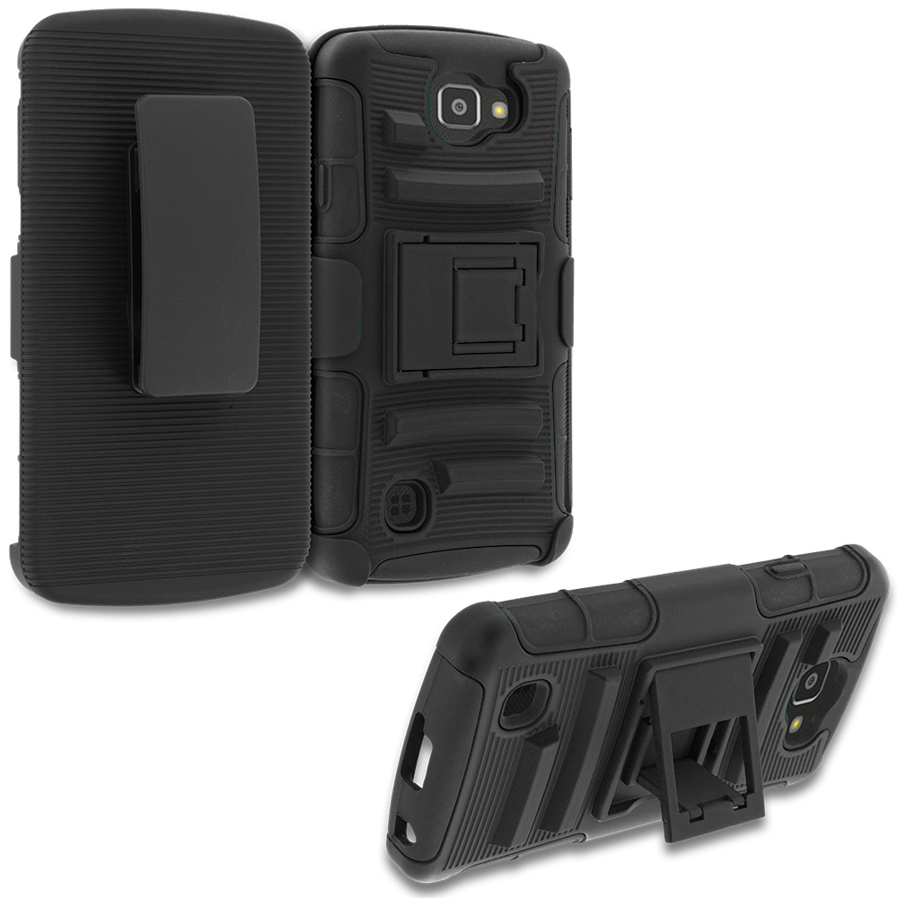 LG Spree Optimus Zone 3 VS425 K4 Black Hybrid Heavy Duty Rugged Case Cover with Belt Clip Holster