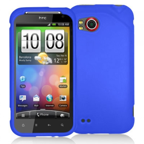 HTC Rezound 4G Blue Hard Rubberized Case Cover