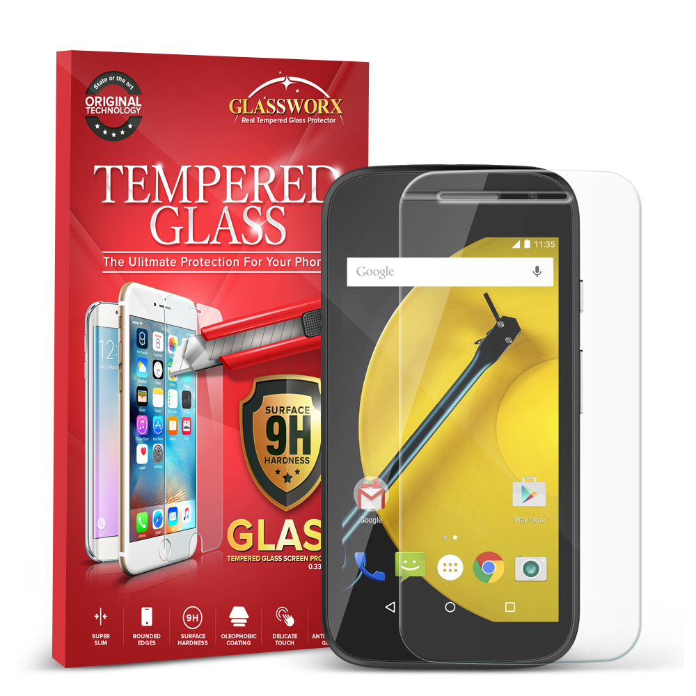 Motorola Moto E LTE 2nd Generation GlassWorX HD Clear Tempered Glass Screen Protector