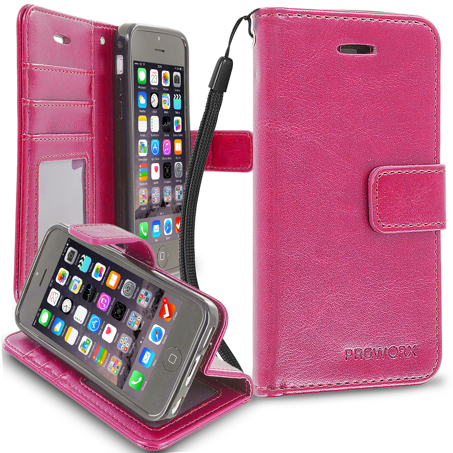 Apple iPhone 5C Hot Pink ProWorx Wallet Case Luxury PU Leather Case Cover With Card Slots & Stand