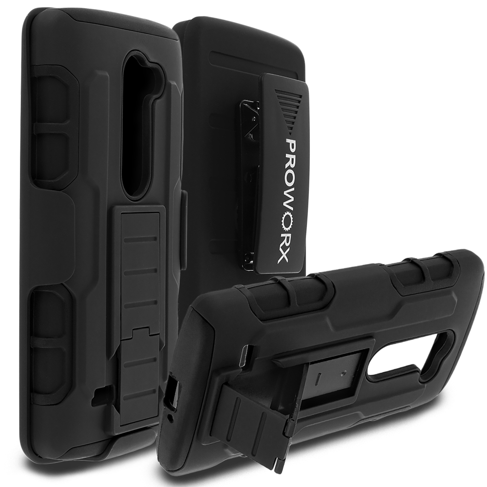 LG Tribute 2 Leon Power Destiny Black ProWorx Heavy Duty Shock Absorption Armor Defender Holster Case Cover With Belt Clip