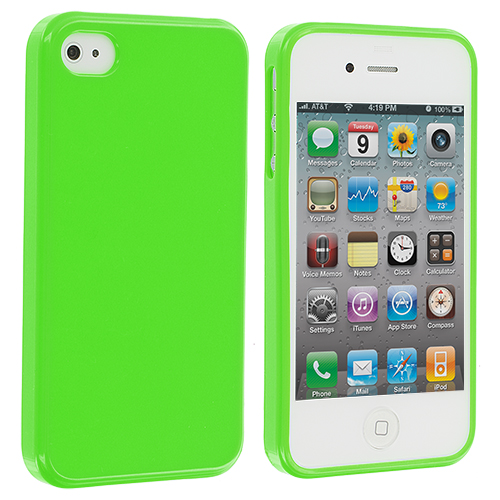 Apple iPhone 4 / 4S Solid Green TPU Rubber Skin Case Cover