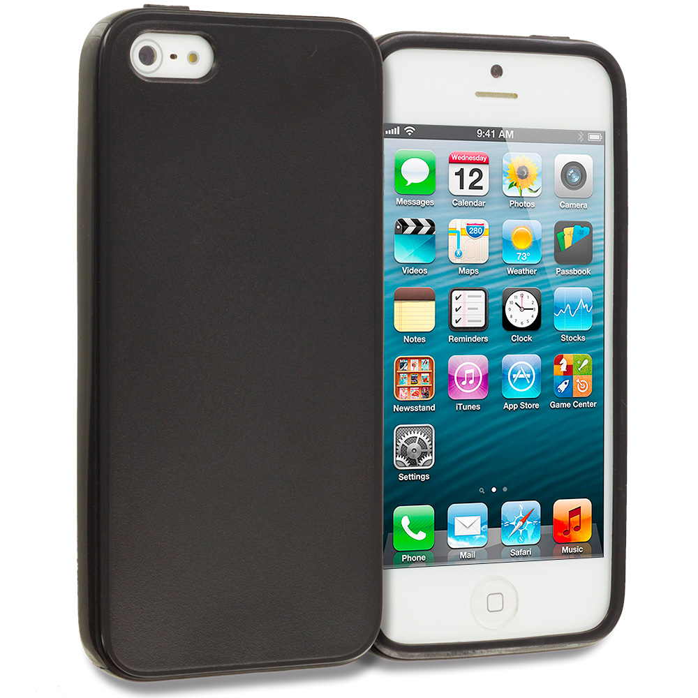 Apple iPhone 5 Black Solid TPU Rubber Skin Case Cover
