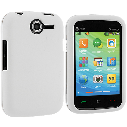 Pantech Renue 6030 White Hard Rubberized Case Cover