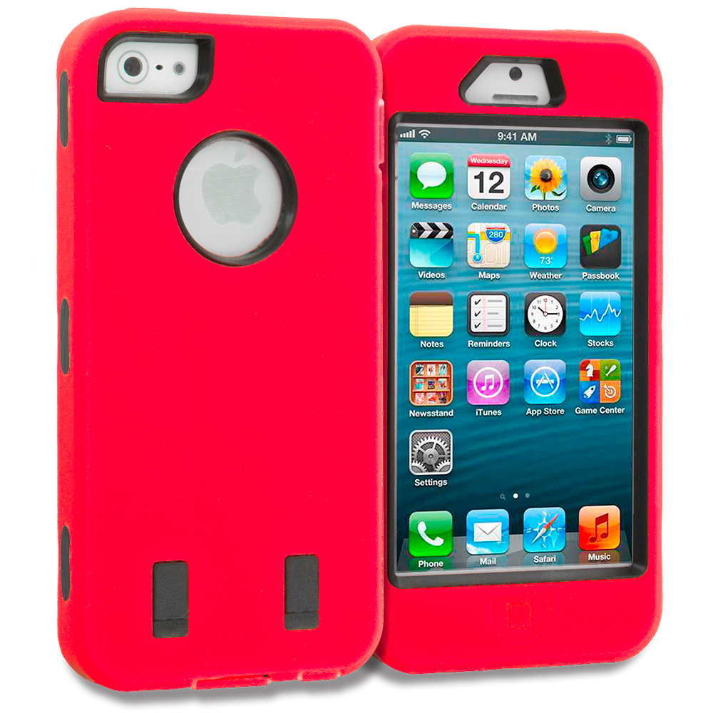 Apple iPhone 5/5S/SE Red Deluxe Hybrid Deluxe Hard/Soft Case Cover
