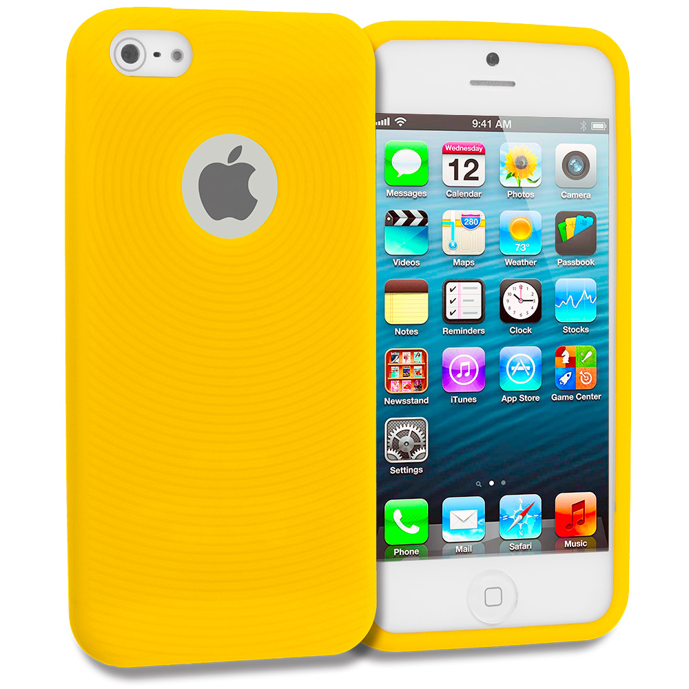 Apple iPhone 5 Yellow Circles Silicone Soft Skin Case Cover