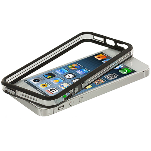Apple iPhone 5/5S/SE Black / Clear TPU Bumper with Metal Buttons