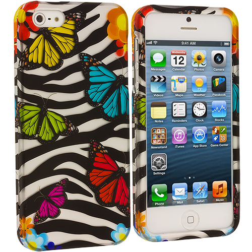 Apple iPhone 5/5S/SE Combo Pack : Birds and Animals Hard Rubberized Design Case Cover : Color Rainbow Butterfly Zebra