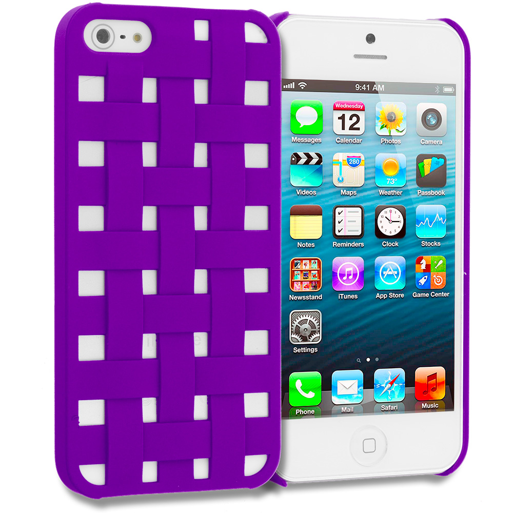 Apple iPhone 5/5S/SE Combo Pack : Blue Handwoven Hard Rubberized Back Cover Case : Color Purple Handwoven