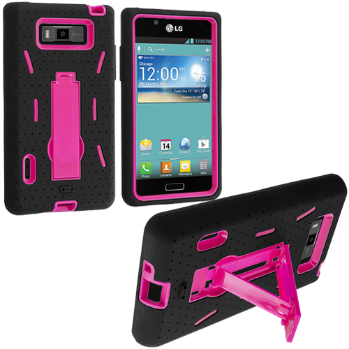 LG Splendor US730 Black / Hot Pink Hybrid Heavy Duty Hard/Soft Case Cover with Stand
