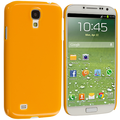 Samsung Galaxy S4 2 in 1 Combo Bundle Pack - Clear Orange Crystal Hard Back Cover Case : Color Orange Solid