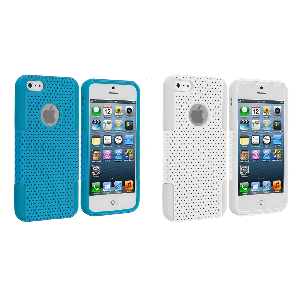 Apple iPhone 5/5S/SE Combo Pack : Baby Blue / Baby Blue Hybrid Mesh Hard/Soft Case Cover