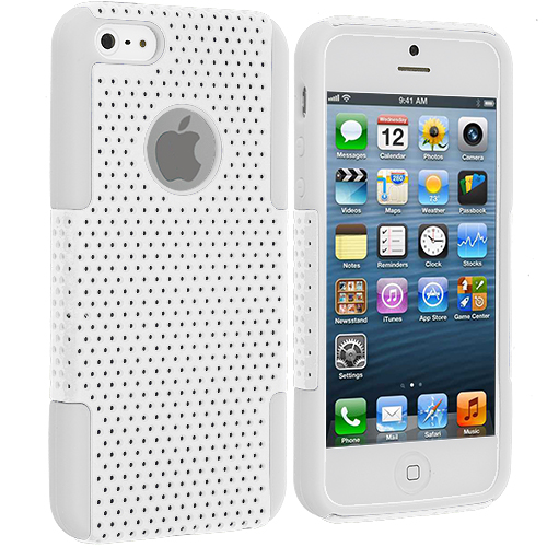 Apple iPhone 5/5S/SE White / White Hybrid Mesh Hard/Soft Case Cover