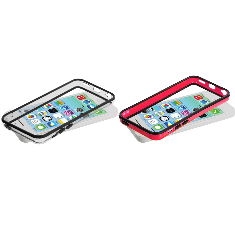Apple iPhone 5C 2 in 1 Combo Bundle Pack - Red / Clear TPU Bumper with Metal Buttons