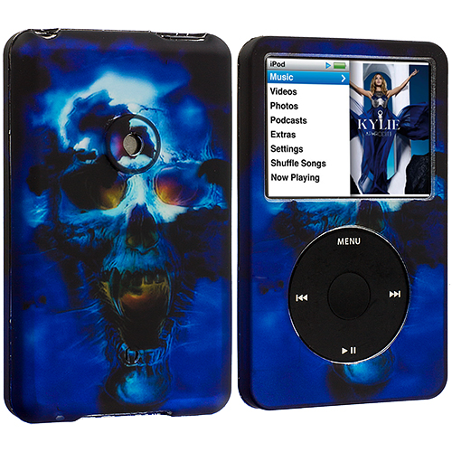 Apple iPod Classic Blue Skulls Hard Rubberized Design Case Cover