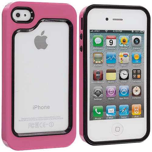 Apple iPhone 4 / 4S 2 in 1 Combo Bundle Pack - Green / Hot Pink Hybrid TPU Bumper Case Cover : Color Black / Hot Pink