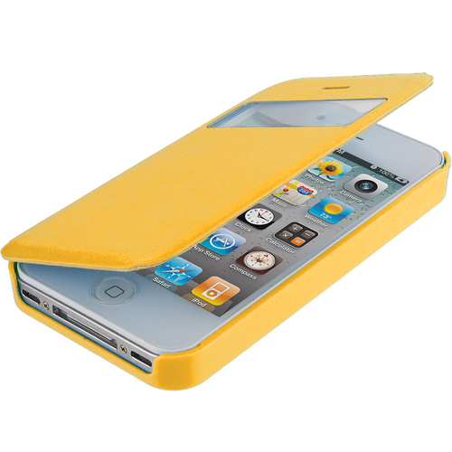 Apple iPhone 4 / 4S Yellow (Open) Magnetic Wallet Case Cover Pouch